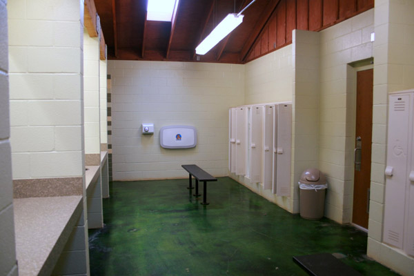 Sink and locker area of the Barracks