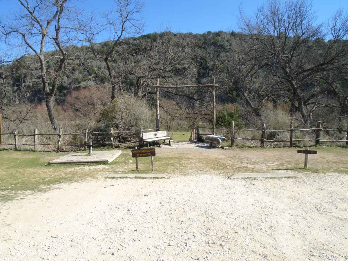 Parking, potable water spigots and the stairway down to Walk-in Basic Campsites 1-16.