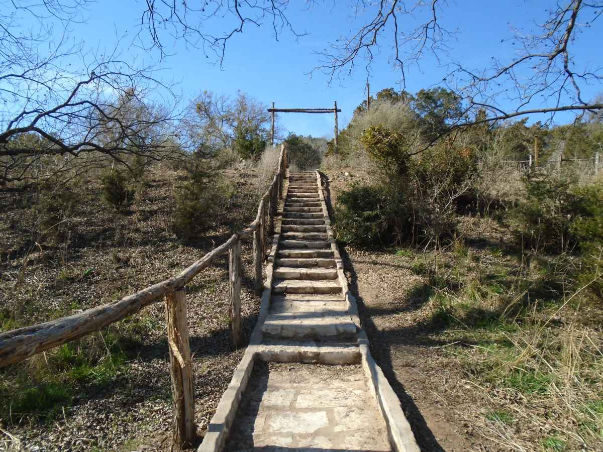 Looking up at the stairway to Walk-in Basic Campsites 1-16.