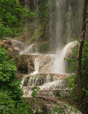 Photo of Gorman Falls with mist rising from water
