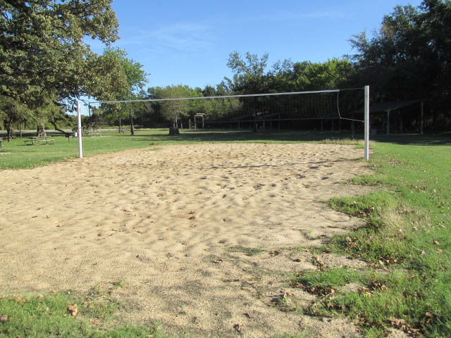 Volleyball court near picnic pavilion.