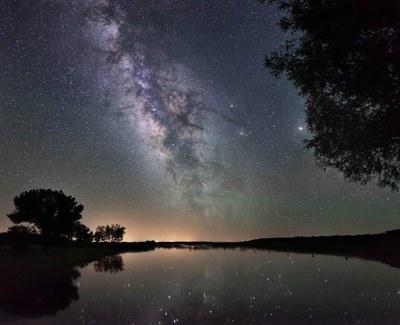 Night sky over a lake