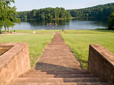 Concrete steps and walkway down to the park lake