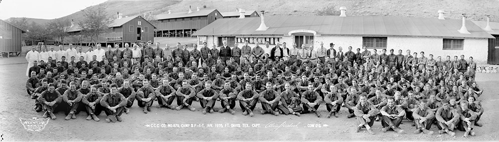 Panoramic shot of the CCC company #879 in front of barracks.
