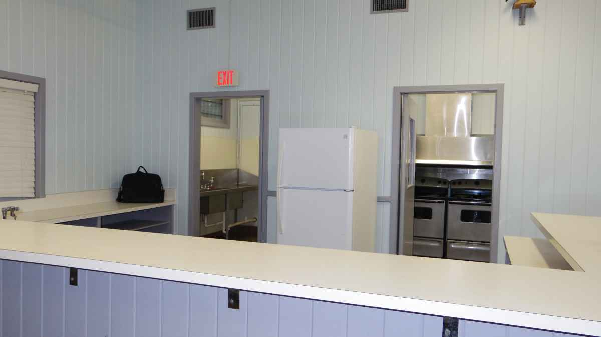 Looking at the kitchen and serving area.