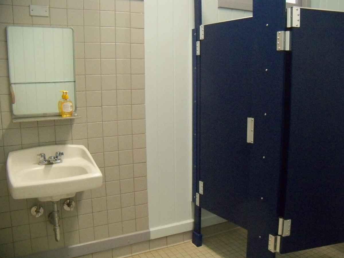 The women's restroom inside the Rec. Hall.