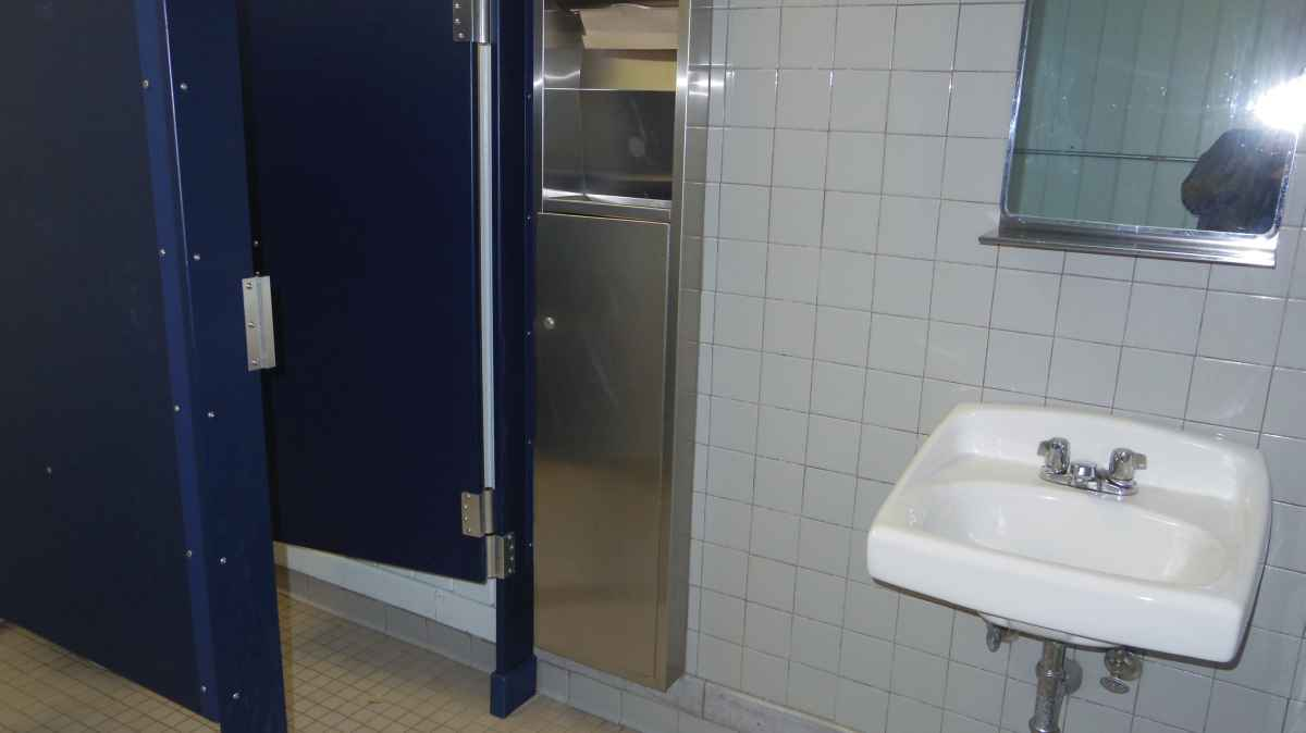 The men's restroom inside the Rec. Hall.