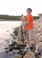 Boy holding stringer of fish