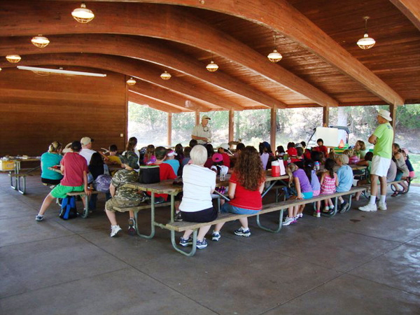 A group gathering at the Pavilion.