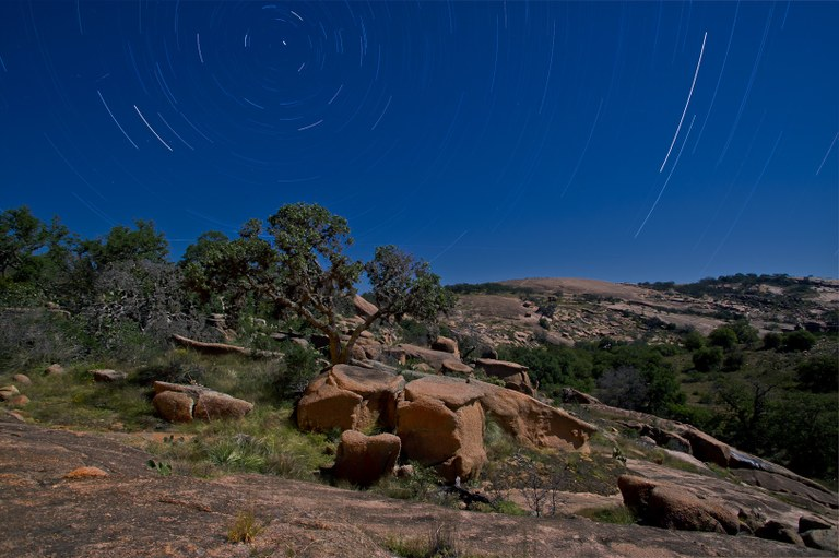 Night sky with stars over Enchanted Rock