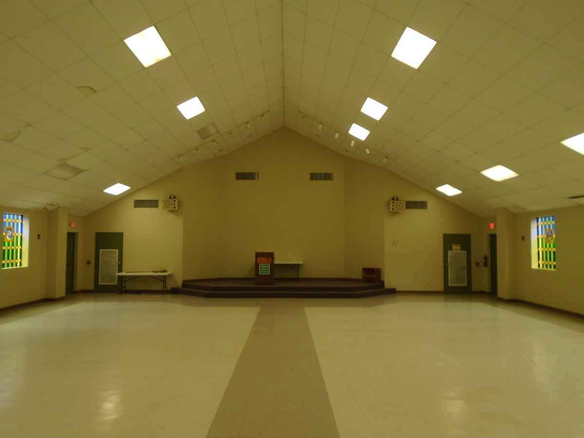 Inside the North Group Rec. Hall (the Chapel).
