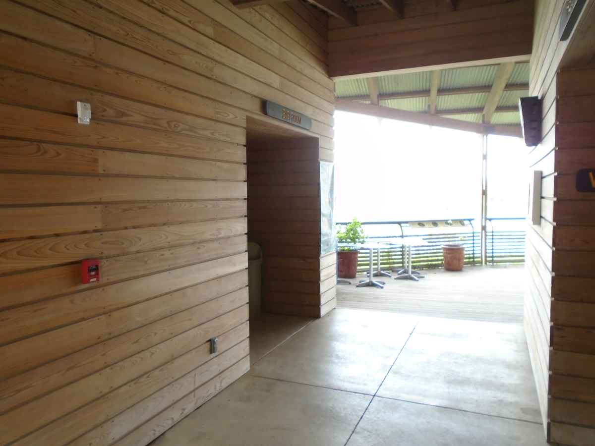 The restrooms outside the Ibis Meeting Room.