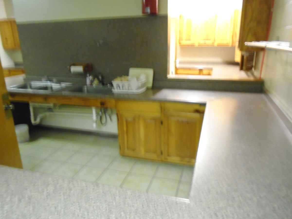 There is lots of counter space and prep area in the kitchen.