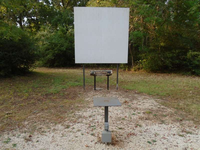 Projection screen and projector stand with electricity.