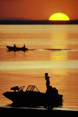 Fisherman on the lake backlit by a sunset.
