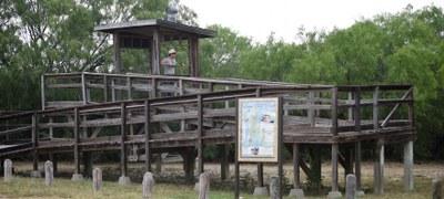 The wildlife viewing platform at Falcon Lake State Park