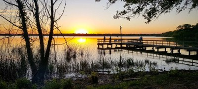 Sunset over the Fort Parker State Park wheelchair accessible fishing pier