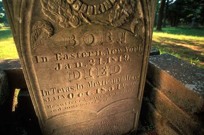 Grave marker from the 1800s in the Springfield cemetery.