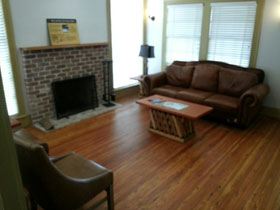 the living area also has a fireplace.