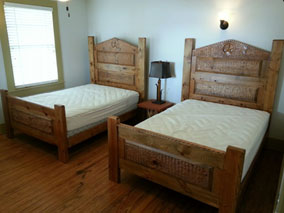 The third bedroom also has 2 full beds.