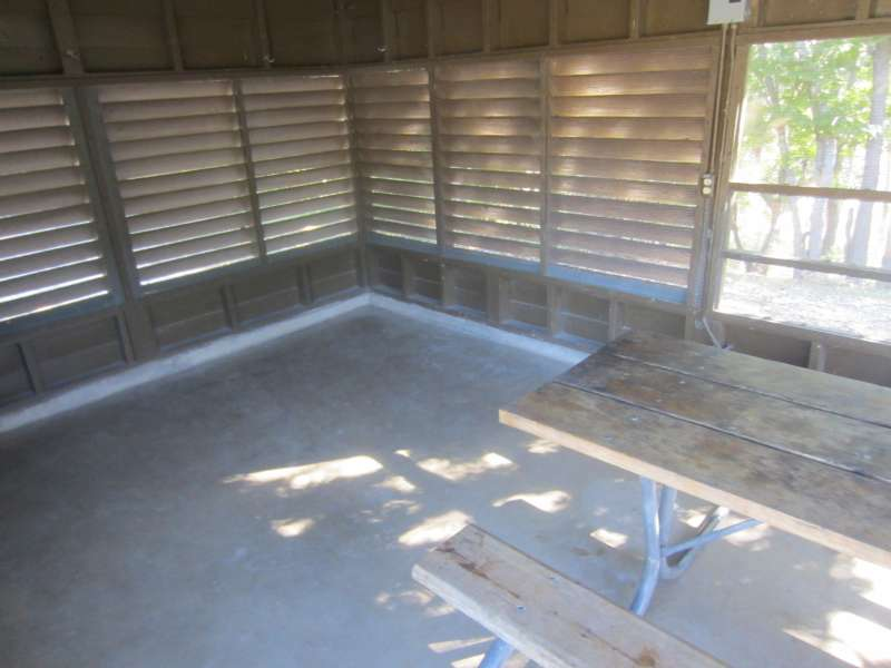 A picnic table is inside all the screened shelters.