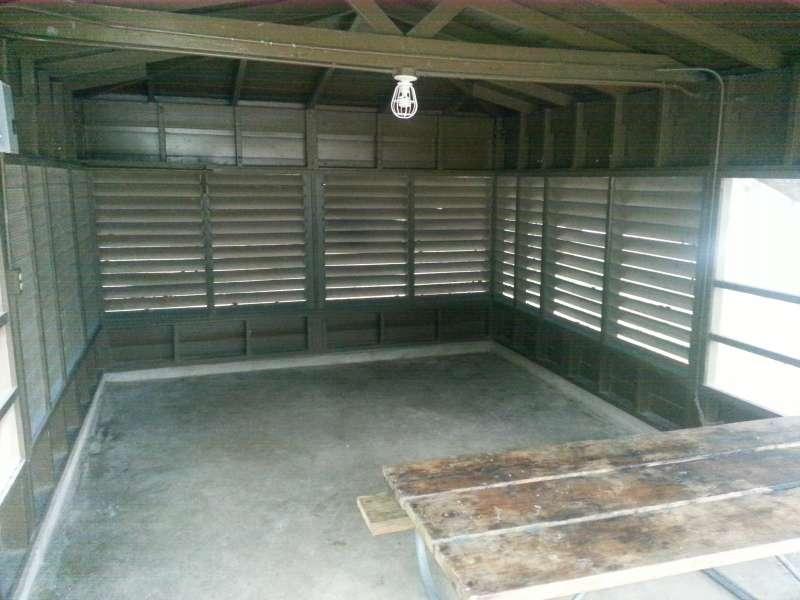 Inside screened shelter #2.