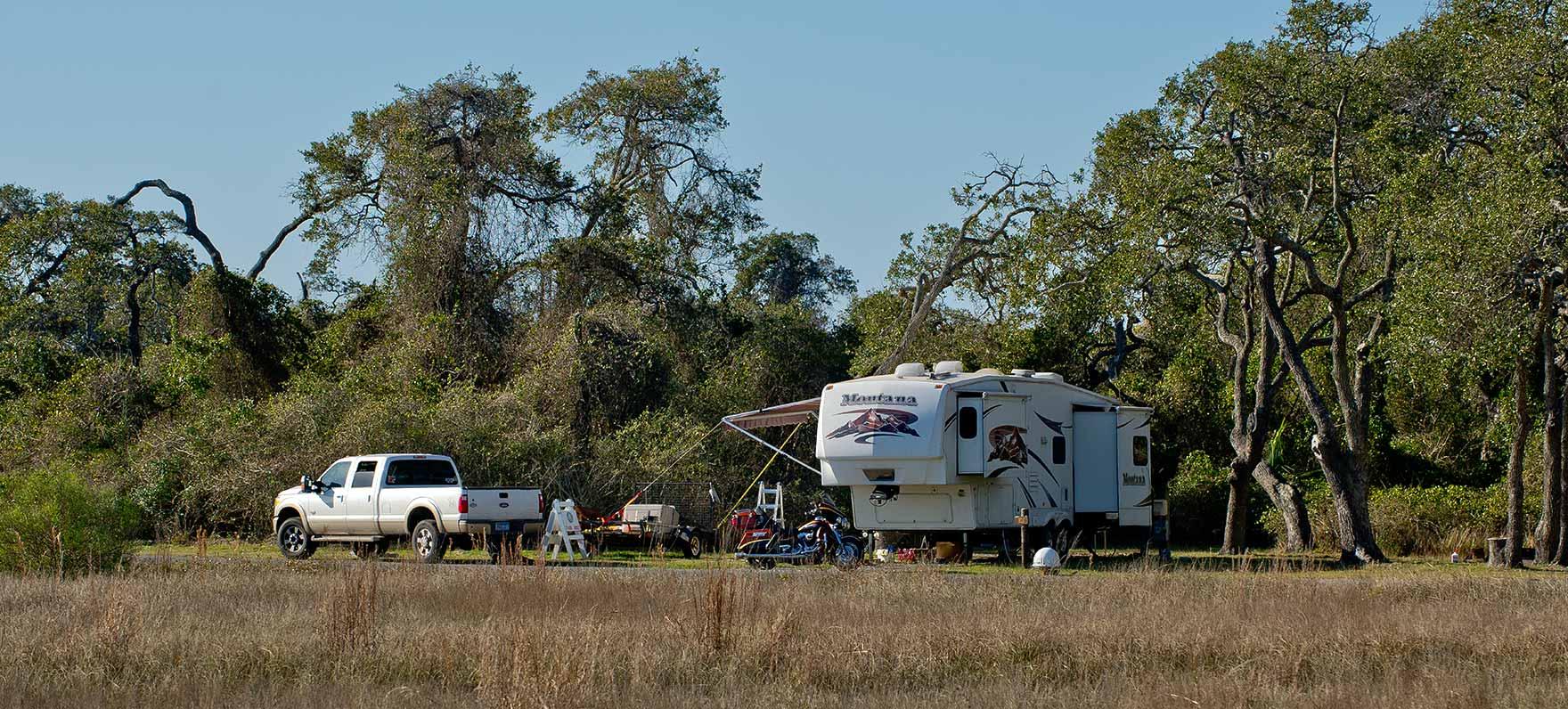 An RV at a Standard Campsite.