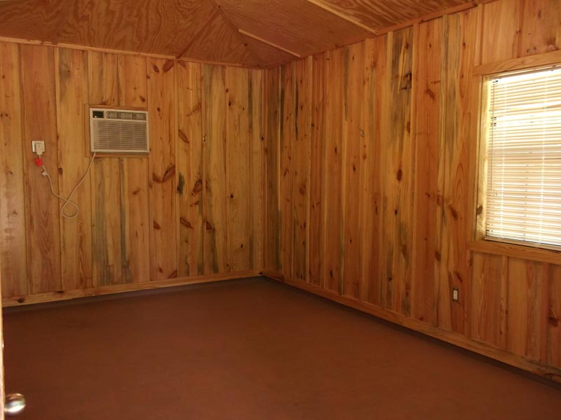 Inside a shelter with air conditioning.