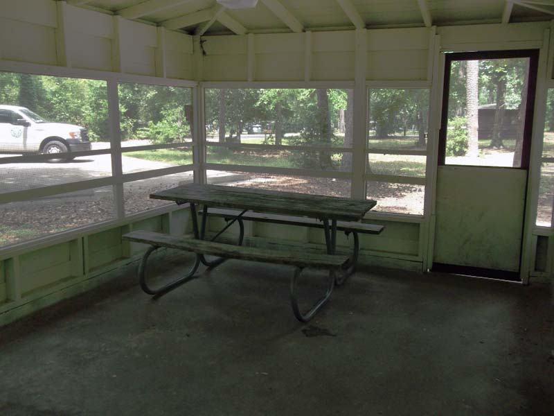 Inside a Screened Shelter.