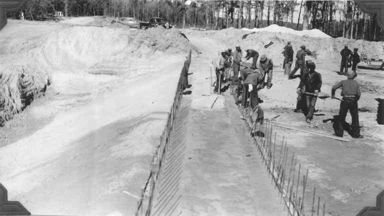 CCC men at work on the dam.