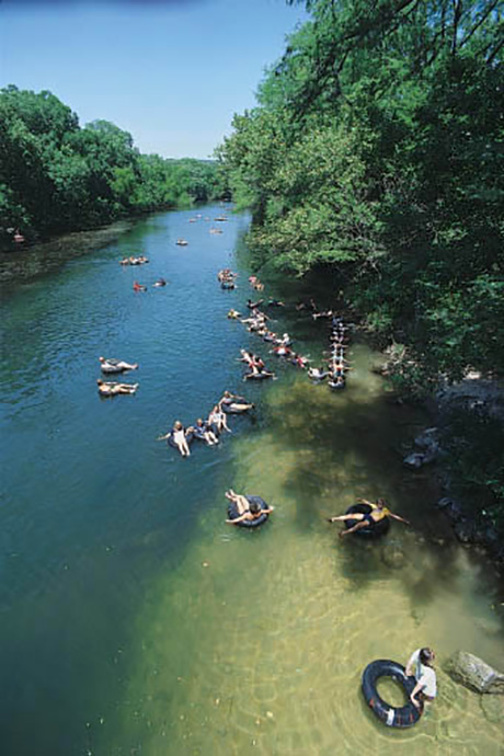 Guadalupe River - overhead WS of tubers