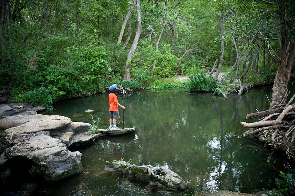 Kid hiking in Lockhart State Park