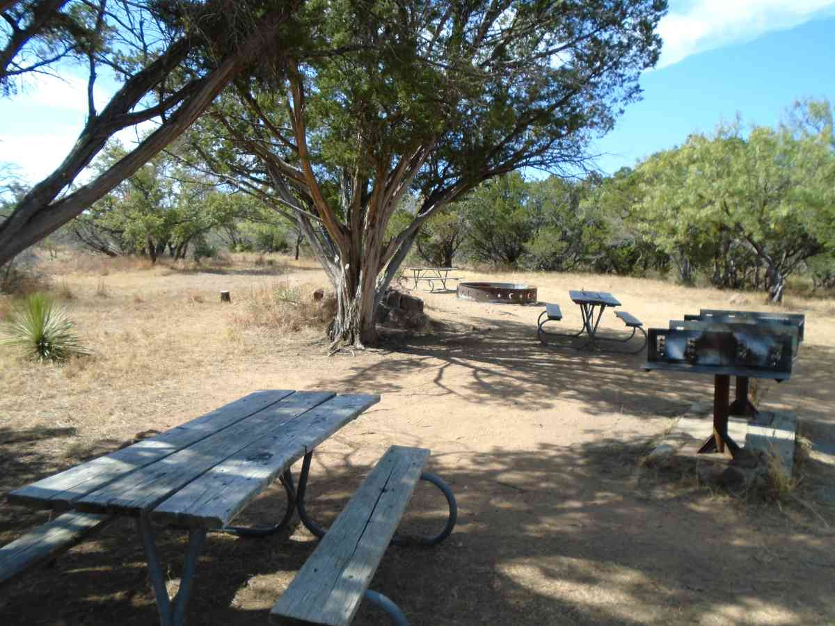 The primitive Group Camp also has picnic tables, two upright grills ans a large rire ring.