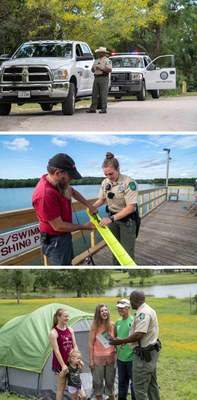 Three photos of park police officers on duty: conducting a traffic stop, measuring a fish, talking with campers.