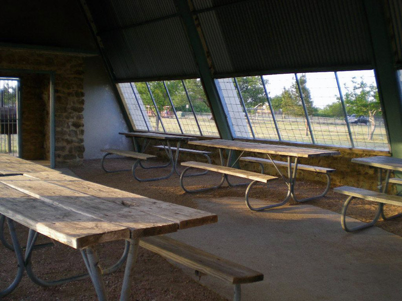 Inside the Aviary, Group Picnic Pavilion.