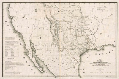 19th century map showing Texas territory extending into present-day Colorado.