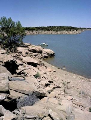 Rocky shore of lake