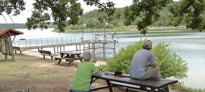 The wheelchair accessible fishing pier at Lake Mineral Wells State Park.