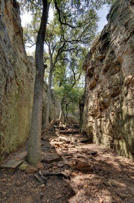 Penitentiary Hollow - narrow opening between two rock cliffs with trees between.