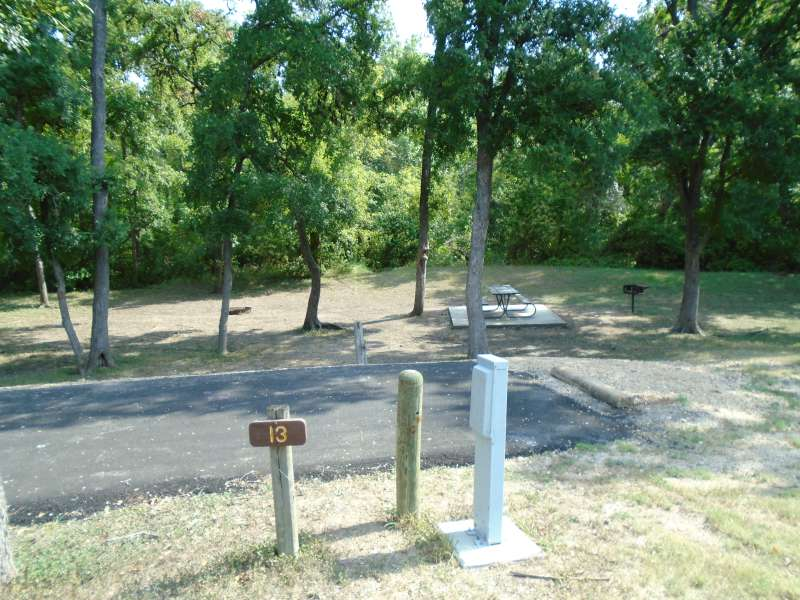 Campsite #13, with water & electricity, in the Clearfork Creek Camping Area.
