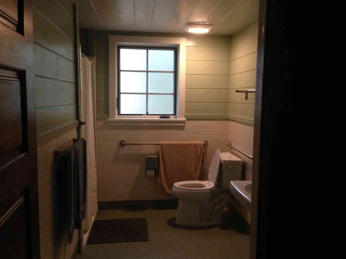 The inside bathroom with a shower.