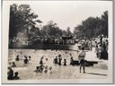 Historical photo of crowds of people at the original Lockhart pool