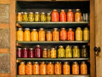 Shelves filled with home-canned foods