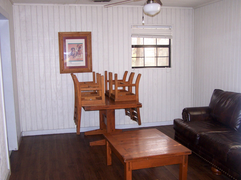 The cabin's living & dining area.