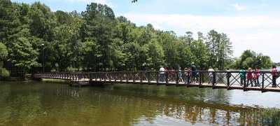Wheelchait accessible bridge at Martin Creek Lake State Park
