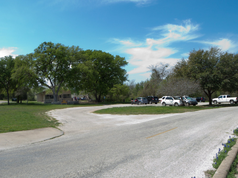 The front parking area. There is also some parking on the side.