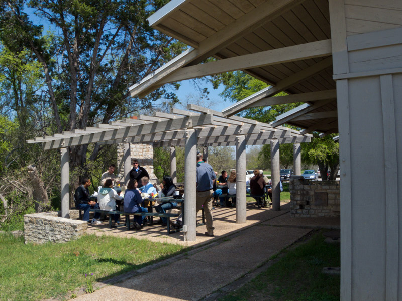 The outside patio of the Rec. Hall.