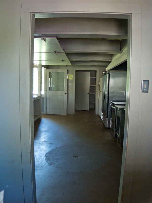 A side view of the kitchen, prep area.