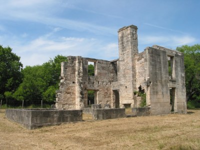 Roofless ruins of stone building