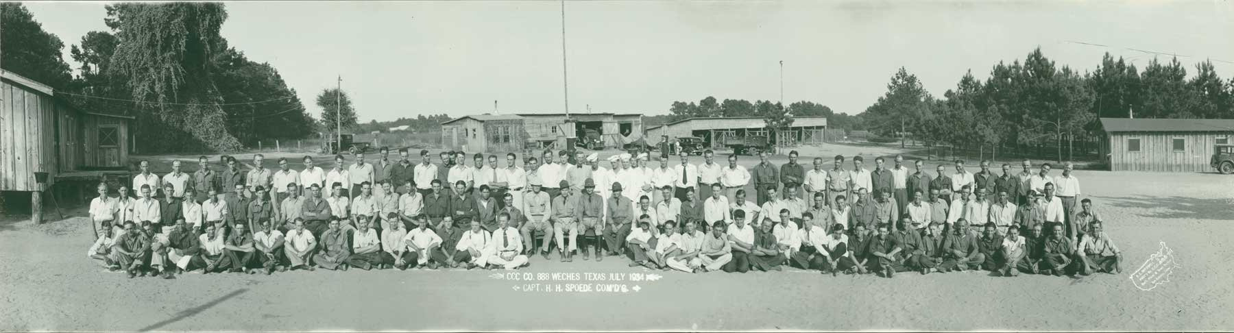 "panoramic shot of assembled CCC Company #888. Text at bottom says ""CCC Co 888 Weches Texas July 1934, Capt. H.H. Spoede Com'd'g."""